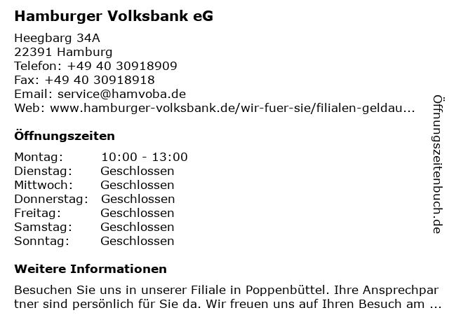 Hamburger Volksbank eG in Hamburg: Adresse und Öffnungszeiten