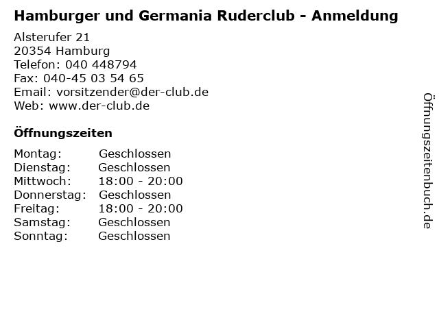 Hamburger und Germania Ruderclub - Anmeldung in Hamburg: Adresse und Öffnungszeiten