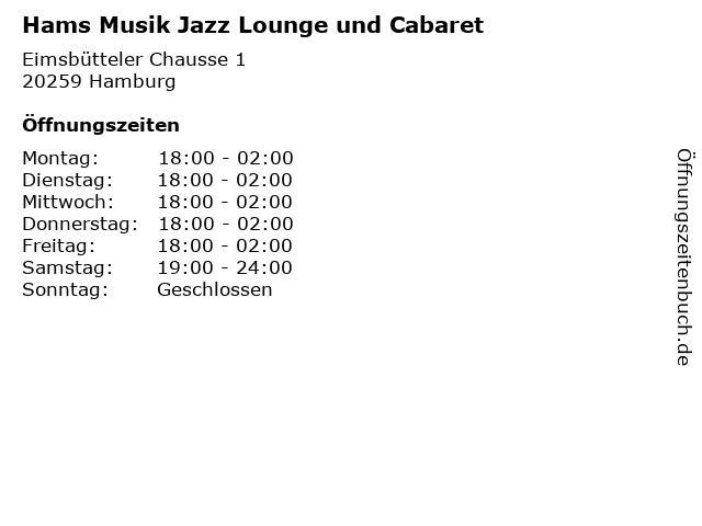 Hams Musik Jazz Lounge und Cabaret in Hamburg: Adresse und Öffnungszeiten