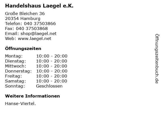 Handelshaus Laegel e.K. in Hamburg: Adresse und Öffnungszeiten