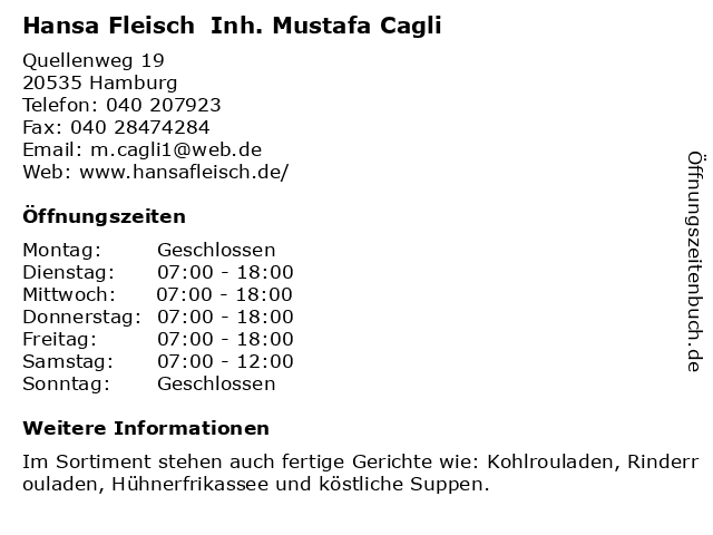Hansa Fleisch  Inh. Mustafa Cagli in Hamburg: Adresse und Öffnungszeiten