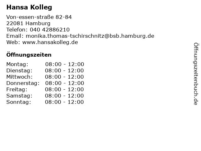 Hansa Kolleg in Hamburg: Adresse und Öffnungszeiten