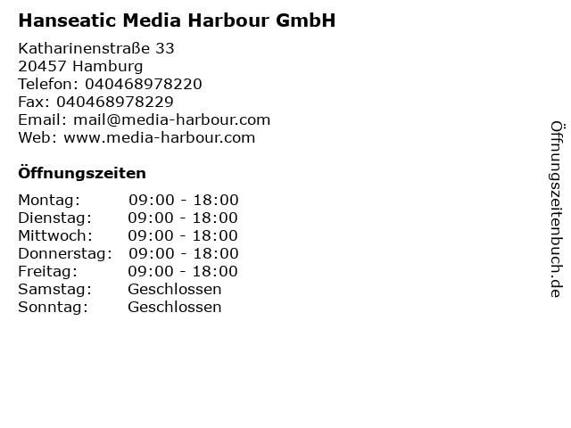 Hanseatic Media Harbour GmbH in Hamburg: Adresse und Öffnungszeiten