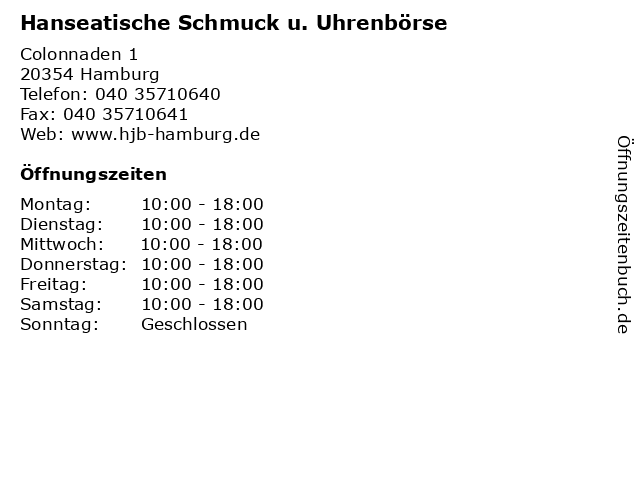 Hanseatische Schmuck u. Uhrenbörse in Hamburg: Adresse und Öffnungszeiten
