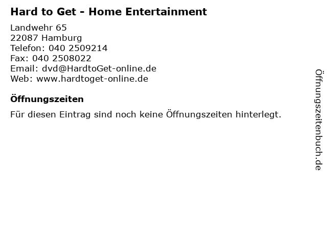 Hard to Get - Home Entertainment in Hamburg: Adresse und Öffnungszeiten