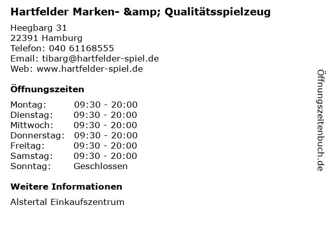 Hartfelder Marken- & Qualitätsspielzeug in Hamburg: Adresse und Öffnungszeiten