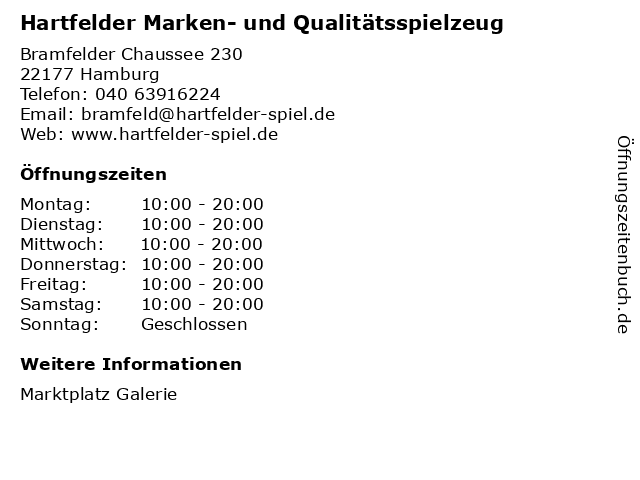 Hartfelder Marken- und Qualitätsspielzeug in Hamburg: Adresse und Öffnungszeiten