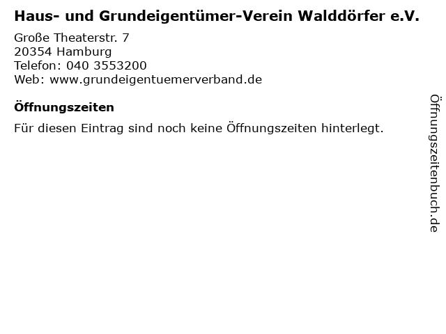 Haus- und Grundeigentümer-Verein Walddörfer e.V. in Hamburg: Adresse und Öffnungszeiten