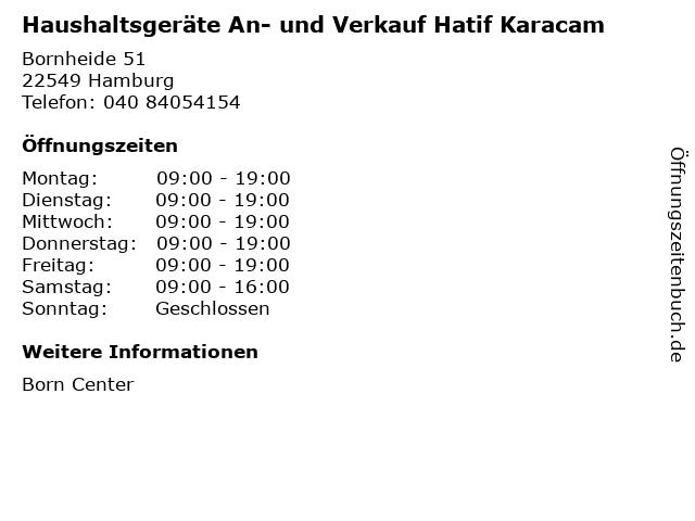 Haushaltsgeräte An- und Verkauf Hatif Karacam in Hamburg: Adresse und Öffnungszeiten