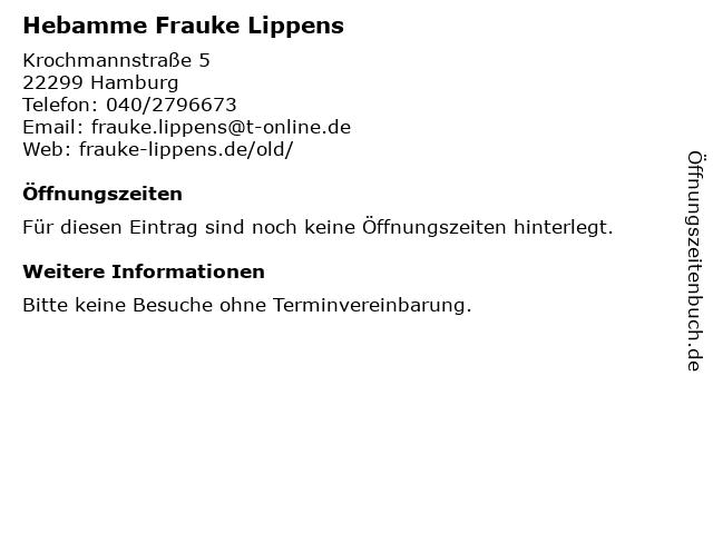 Hebamme Frauke Lippens in Hamburg: Adresse und Öffnungszeiten
