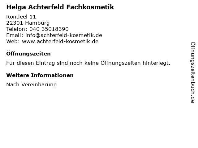 Helga Achterfeld Fachkosmetik in Hamburg: Adresse und Öffnungszeiten