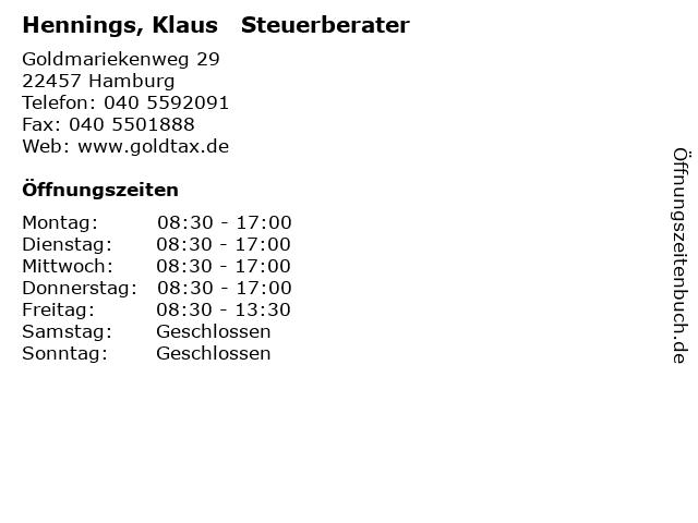 Hennings, Klaus   Steuerberater in Hamburg: Adresse und Öffnungszeiten