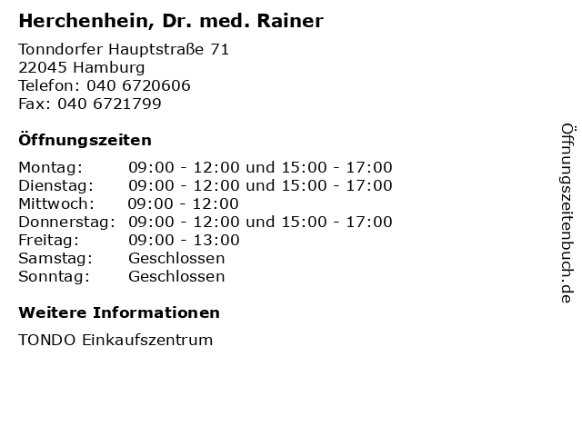 Herchenhein, Dr. med. Rainer in Hamburg: Adresse und Öffnungszeiten