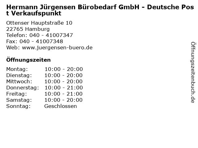Hermann Jürgensen Bürobedarf GmbH - Deutsche Post Verkaufspunkt in Hamburg: Adresse und Öffnungszeiten