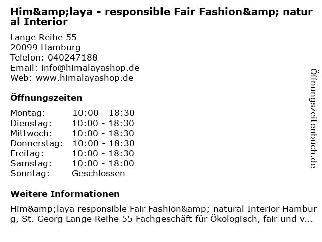 Him&laya - responsible Fair Fashion& natural Interior in Hamburg: Adresse und Öffnungszeiten