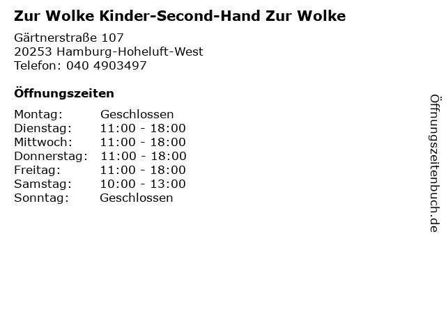 Zur Wolke Kinder-Second-Hand Zur Wolke in Hamburg-Hoheluft-West: Adresse und Öffnungszeiten