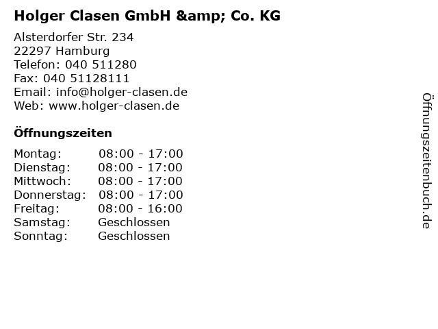Holger Clasen GmbH & Co. KG in Hamburg: Adresse und Öffnungszeiten