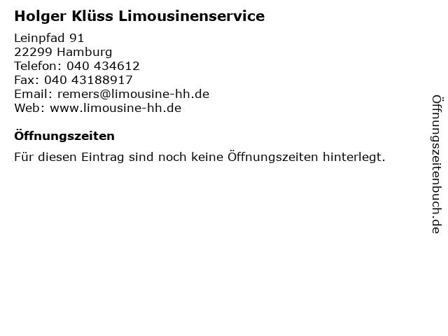 Holger Klüss Limousinenservice in Hamburg: Adresse und Öffnungszeiten