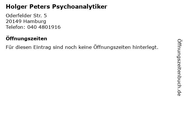 Holger Peters Psychoanalytiker in Hamburg: Adresse und Öffnungszeiten