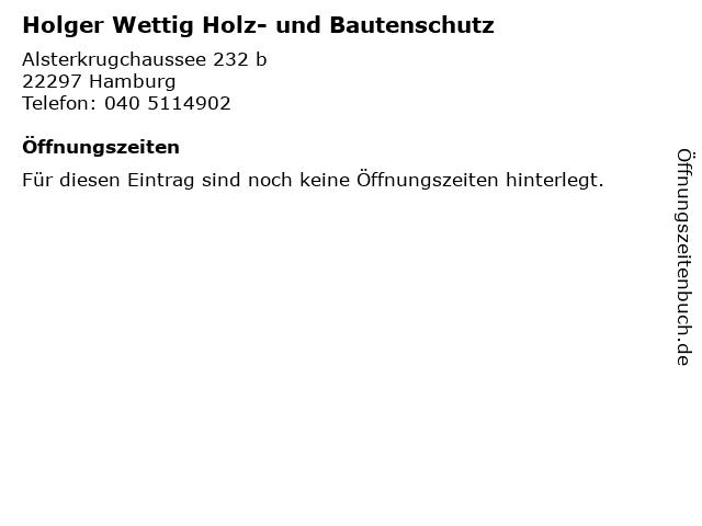 Holger Wettig Holz- und Bautenschutz in Hamburg: Adresse und Öffnungszeiten