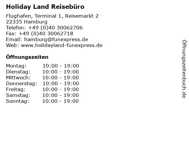 Holiday Land Reisebüro in Hamburg: Adresse und Öffnungszeiten