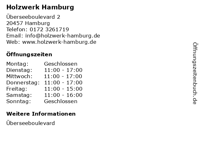 Holzwerk Hamburg in Hamburg: Adresse und Öffnungszeiten