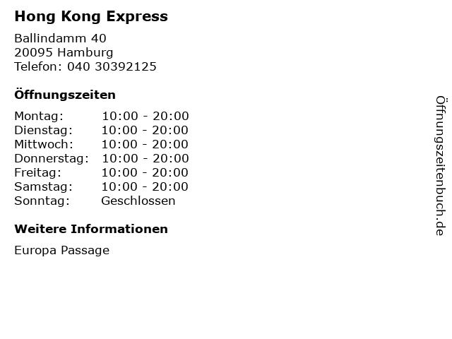 Hong Kong Express in Hamburg: Adresse und Öffnungszeiten