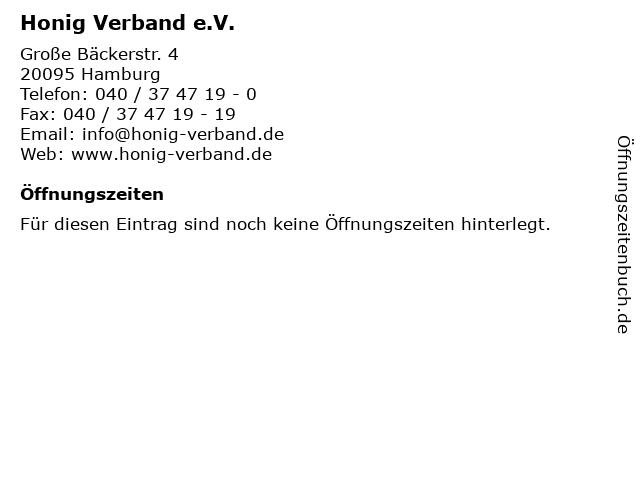 Honig Verband e.V. in Hamburg: Adresse und Öffnungszeiten