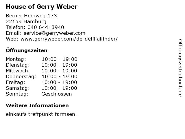 House of Gerry Weber in Hamburg: Adresse und Öffnungszeiten