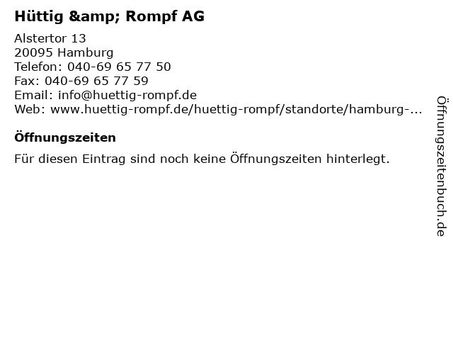 Hüttig & Rompf AG in Hamburg: Adresse und Öffnungszeiten