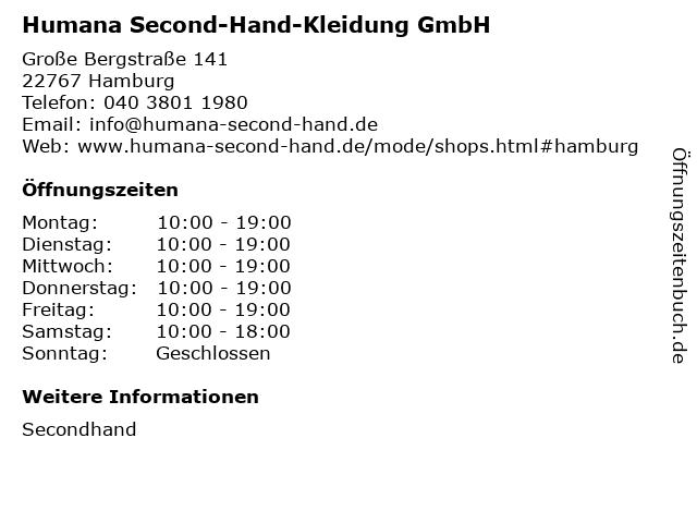 Humana Second-Hand-Kleidung GmbH in Hamburg: Adresse und Öffnungszeiten