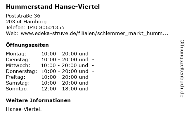 Hummerstand Hanse-Viertel in Hamburg: Adresse und Öffnungszeiten
