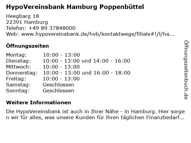 HypoVereinsbank Hamburg Poppenbüttel in Hamburg: Adresse und Öffnungszeiten