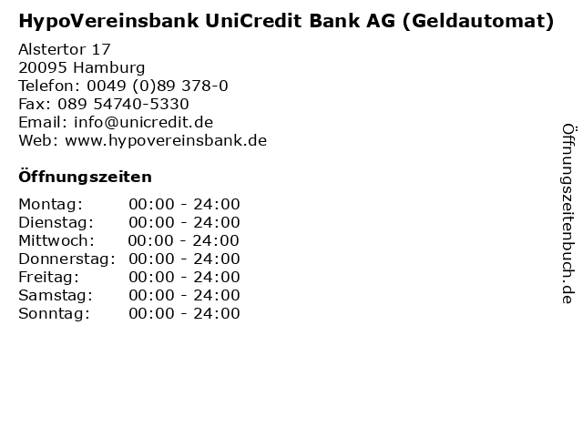 HypoVereinsbank UniCredit Bank AG (Geldautomat) in Hamburg: Adresse und Öffnungszeiten
