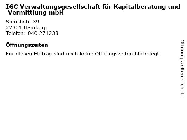 IGC Verwaltungsgesellschaft für Kapitalberatung und Vermittlung mbH in Hamburg: Adresse und Öffnungszeiten