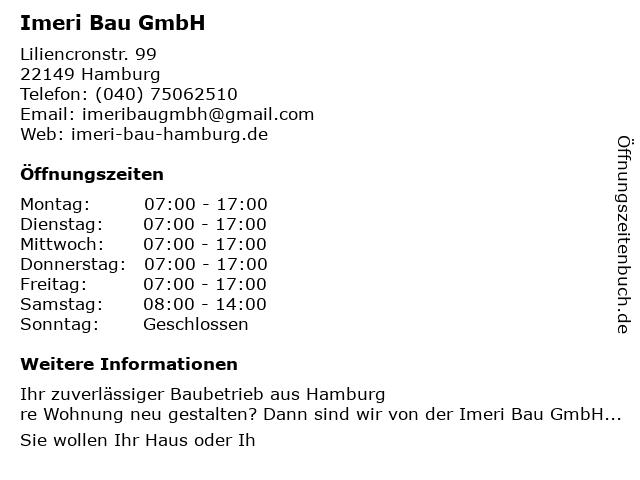 Imeri Bau GmbH in Hamburg: Adresse und Öffnungszeiten