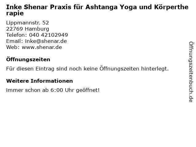 Inke Shenar Praxis für Ashtanga Yoga und Körpertherapie in Hamburg: Adresse und Öffnungszeiten