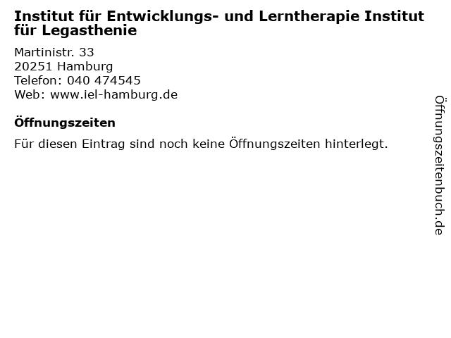 Institut für Entwicklungs- und Lerntherapie Institut für Legasthenie in Hamburg: Adresse und Öffnungszeiten