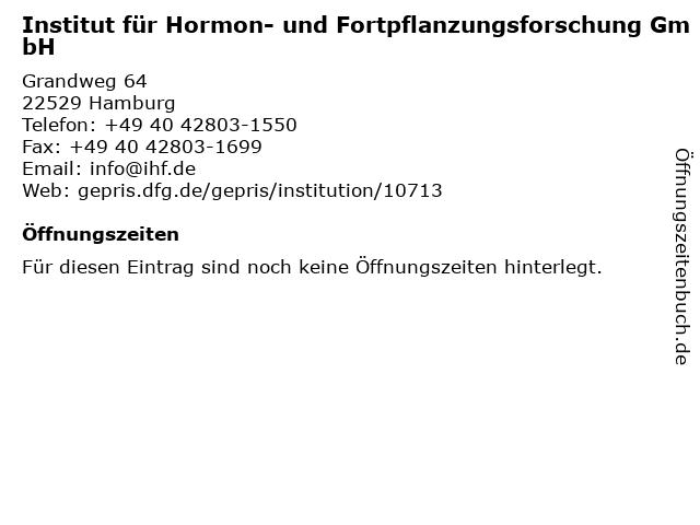 Institut für Hormon- und Fortpflanzungsforschung GmbH in Hamburg: Adresse und Öffnungszeiten