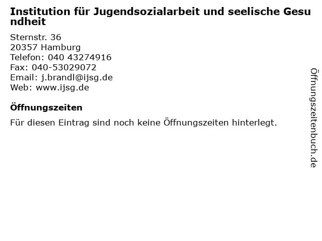 Institution für Jugendsozialarbeit und seelische Gesundheit in Hamburg: Adresse und Öffnungszeiten