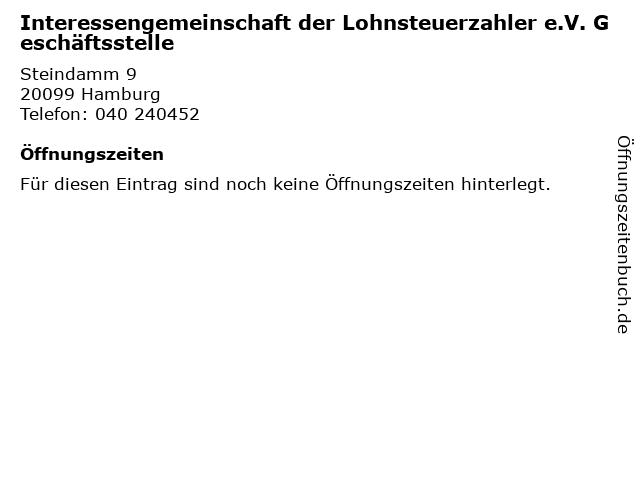 Interessengemeinschaft der Lohnsteuerzahler e.V. Geschäftsstelle in Hamburg: Adresse und Öffnungszeiten