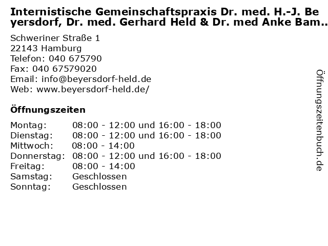 Internistische Gemeinschaftspraxis Dr. med. H.-J. Beyersdorf, Dr. med. Gerhard Held & Dr. med Anke Bamberger in Hamburg: Adresse und Öffnungszeiten