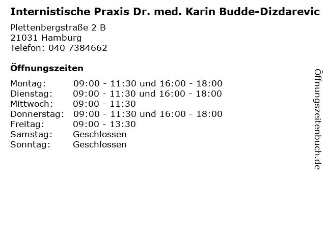 Internistische Praxis Dr. med. Karin Budde-Dizdarevic in Hamburg: Adresse und Öffnungszeiten