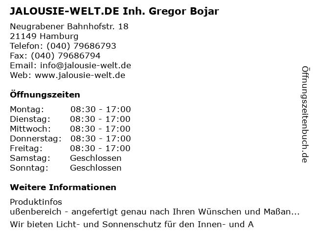 JALOUSIE-WELT.DE Inh. Gregor Bojar in Hamburg: Adresse und Öffnungszeiten