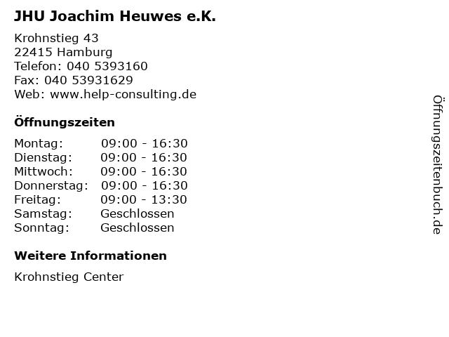 JHU Joachim Heuwes e.K. in Hamburg: Adresse und Öffnungszeiten