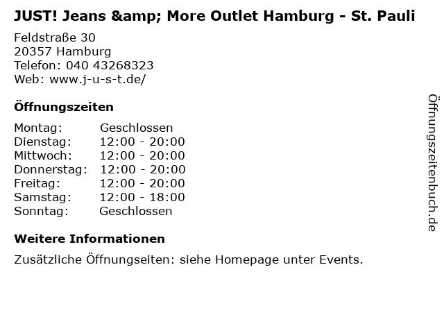 JUST! Jeans & More Outlet Hamburg - St. Pauli in Hamburg: Adresse und Öffnungszeiten