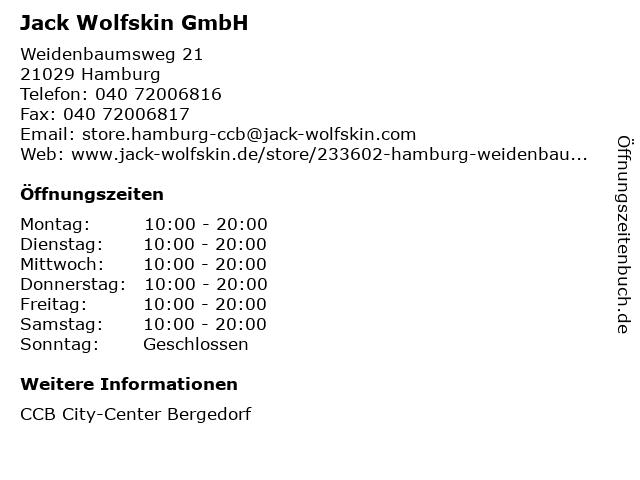 Jack Wolfskin GmbH in Hamburg: Adresse und Öffnungszeiten