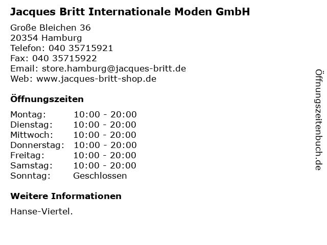 Jacques Britt Internationale Moden GmbH in Hamburg: Adresse und Öffnungszeiten