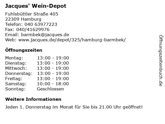 Jacques' Wein-Depot in Hamburg: Adresse und Öffnungszeiten