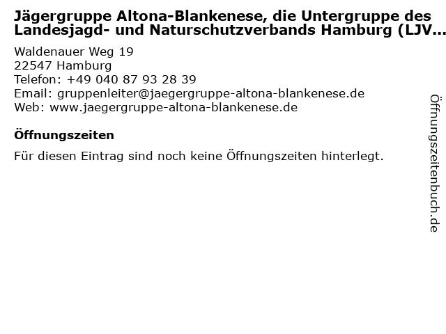 Jägergruppe Altona-Blankenese, die Untergruppe des Landesjagd- und Naturschutzverbands Hamburg (LJVHH) in Hamburg: Adresse und Öffnungszeiten